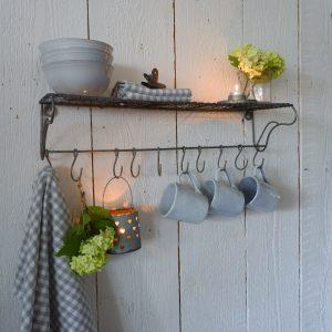 grijs metalen wandrek met 10 haken wall shelf ib-laursen hoog 17 cm breed 61 cm diep 18 cm14