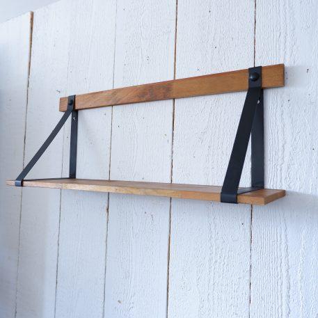 wandplank wandschap XL hout en zwart metaal breed 78 cm diep 21 cm hoog 31 cm
