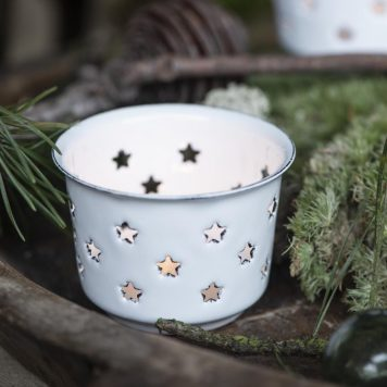 emaille sfeerlichtje wit ster ib laursen hoog 5 cm diameter 7.5 cm candle holder for tealight stars enamel