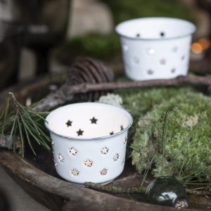 emaille sfeerlichtje wit ster ib laursen hoog 5 cm diameter 7.5 cm candle holder for tealight stars enamel1