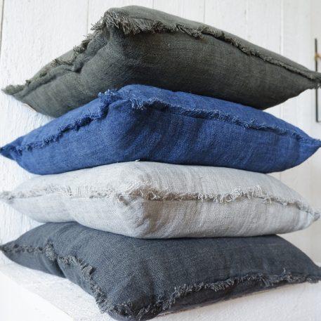 Kussen linnen met franje 55 x 55 cm 4 kleuren3