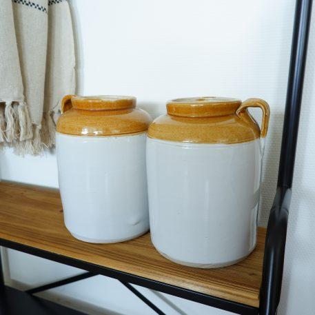 ceramic jar unique grijs wit oker cognac ib-laursen hoog 25 cm diameter 18 cm1