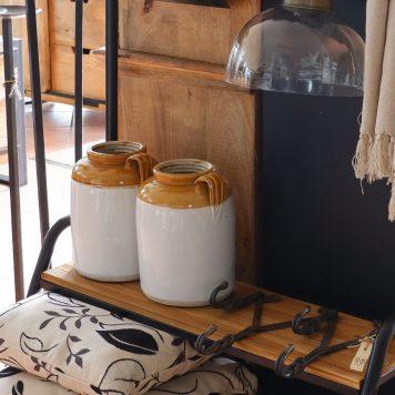 ceramic jar unique grijs wit oker cognac ib-laursen hoog 25 cm diameter 18 cm2