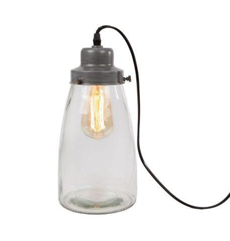 glazen lamp grow grijs metaal 34 cm hoog en diameter 15 cm zwart snoer 170 cm lang met aan uit schakelaar