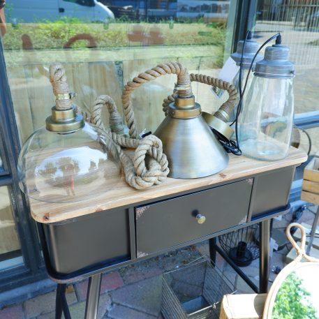 glazen lamp grow grijs metaal en touwlampen hangend met glazen kap en metalen kap