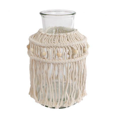 macramé windlicht of vaas wit geknoopt touw en witte kralen hoog 30 cm diameter 17 cm