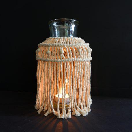 macramé windlicht of vaas wit geknoopt touw en witte kralen hoog 30 cm diameter 17 cm2