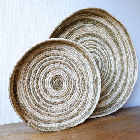 bananenblad mand naturel beige diameter 45 cm en diameter 65 cm wandmand of schaal