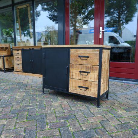black iron dressoir 1 zwart stalen deur 3 lades mangohout hoog 80 cm breed 100 cm diep 41 cm industriele meubelen8