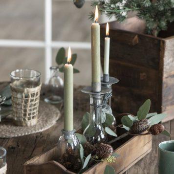 candle holder spear conical grijs metaal hoog 10.5 cm diameter 7.5 cm ib laursen dinerkaars houder speer