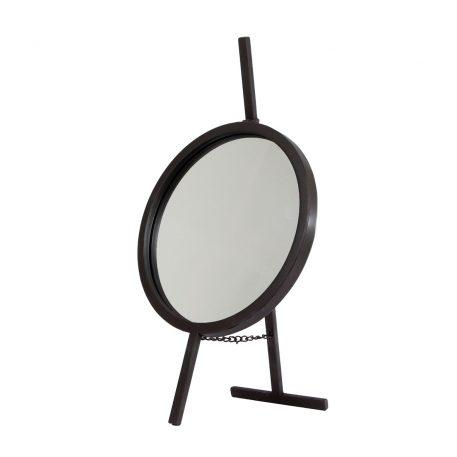spiegel rond staand zwart metaal hoog 53 cm diameter 30 cm
