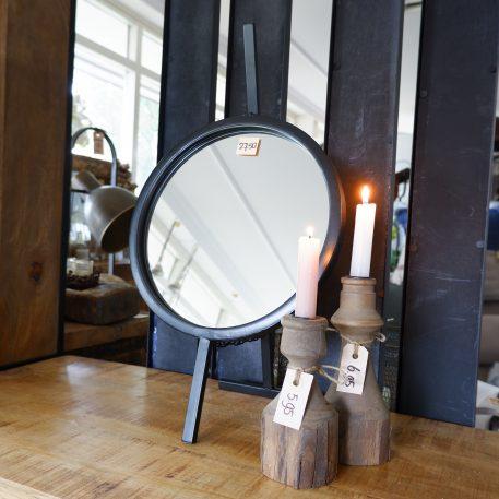 spiegel rond staand zwart metaal hoog 53 cm diameter 30 cm2