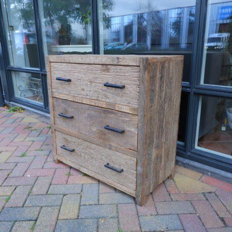 3 ladekast oud vergrijsd hout hoog 80 cm breed 80 cm diep 40 cm barnwood railway wood truckwood1