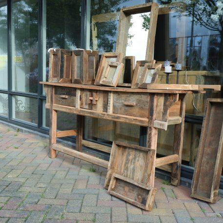 barnwood sidetable 2 lades en deurtjes hoog 81 cm breed 171 cm diep 45 cm truckwood railway wood