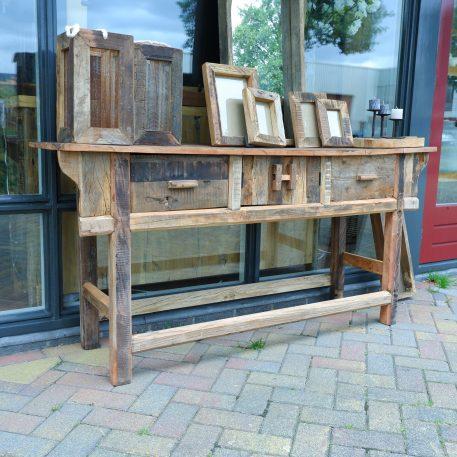 barnwood sidetable 2 lades en deurtjes hoog 81 cm breed 171 cm diep 45 cm truckwood railway wood4