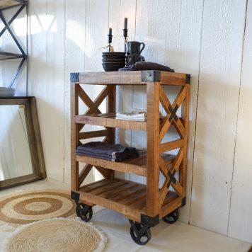 factory cross open kastje op wielen trolley mangohout en staal hoog 88 cm breed 59 cm diep 37 cm industriele meubelen7