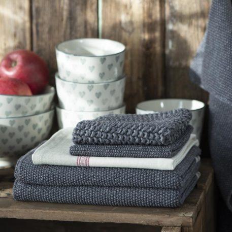keuken pannenlap en handdoek grijs gebreid mynte ib-laursen
