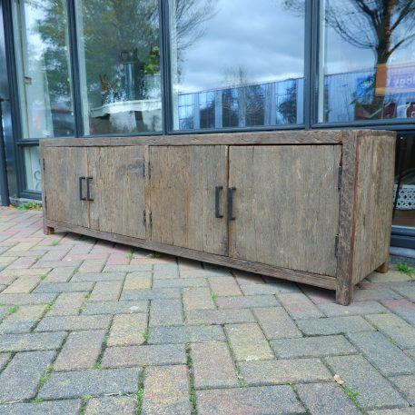 tv dressoir 4 deuren vergrijsd hout hoog 55 cm breed 180 cm diep 45 cm barnwood truckwood railway wood tv meubel