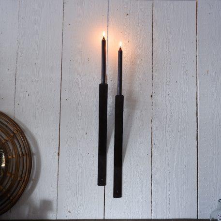 wandkandelaar strip voor dinerkaars smeedijzer 50 cm lang en 4 cm breed diep 8 cm4
