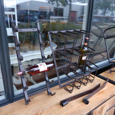 wijnwandrek 6 flessen en 12 flessen strip wandkandelaar voor waxinelichtje en dinerkaars smeedijzer