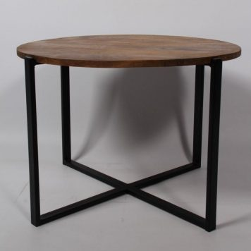 bijzettafel salontafel cross mangohout zwart staal hoog 40 cm diameter 60 cm