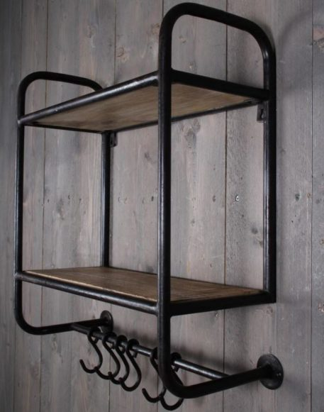 industrieel wandrek 2 planken 6 kapstokhaken mangohout en metaal vintage zwart hoog 67 cm breed 55 cm diep 24.5 cm2