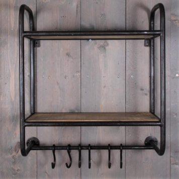 industrieel wandrek 2 planken 6 kapstokhaken mangohout en metaal vintage zwart hoog 67 cm breed 55 cm diep 24.5 cm3