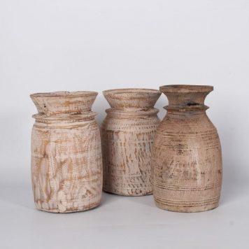 oude houten nepalese vaas pot white wash hoog 22 cm diameter 16 cm1b