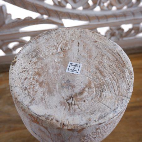 oude houten nepalese vaas pot white wash hoog 22 cm en hoog 28 diameter 16 cm1