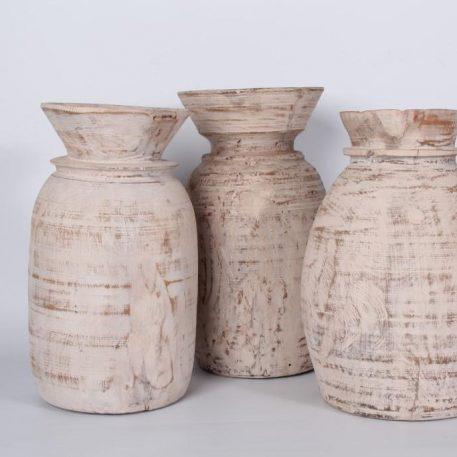 oude houten nepalese vaas pot white wash hoog 28 cm diameter 16 cm1a