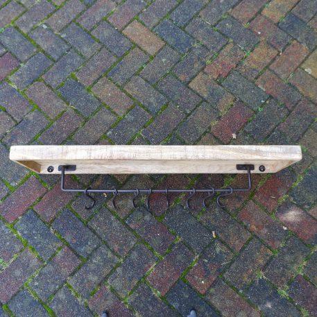 wandplank mangohout met 8 kapstokhaken zwart staal breed 100 cm diep 26 cm6
