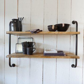 wandrek 2 planken vintage zwart bruin rond staal en mangohout hoog 80 cm breed 108 cm diep 30 cm8
