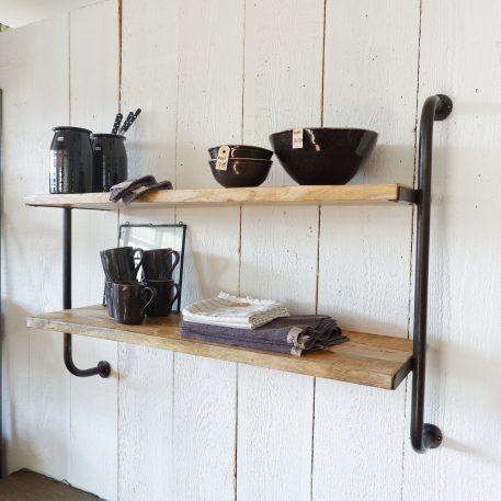 wandrek 2 planken vintage zwart bruin rond staal en mangohout hoog 80 cm breed 108 cm diep 30 cm9