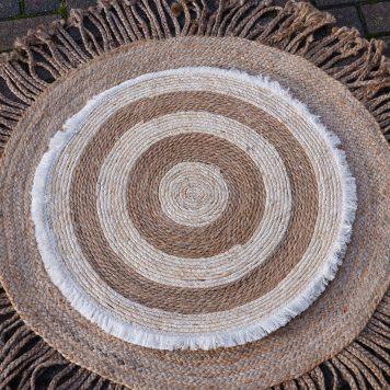 bananenblad vloerkleed wandkleed naturel-beige diameter 75 cm