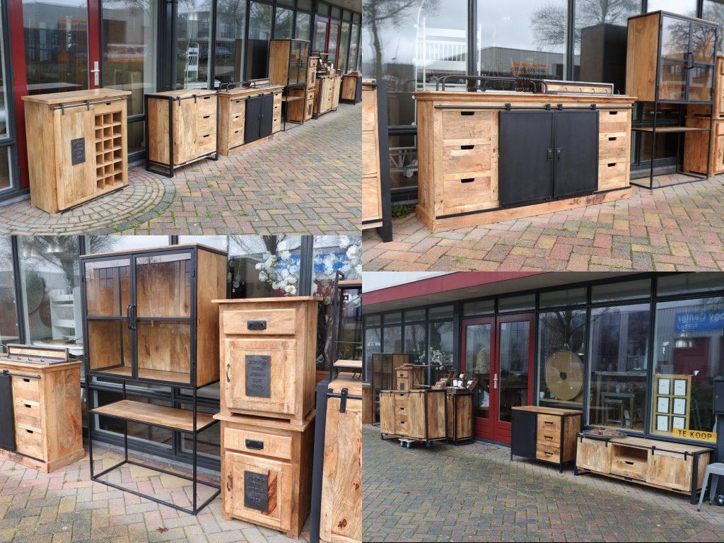 industriele meubelen mango mangohout en zwart staal factory travail dressoir tv meubelen nachtkastjes ladekasten1