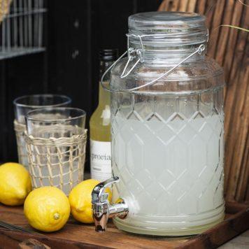 drank dispenser limonade tap helder glas met honingraat patroon 3.5 liter hoog 30 cm diameter 16 cm ib-laursen