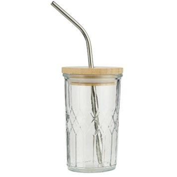 drink glas met honingraat structuur bamboo deksel en metalen rietje inhoud 250 ml hoog 12.5 cm diameter 8 cm ib-laursen