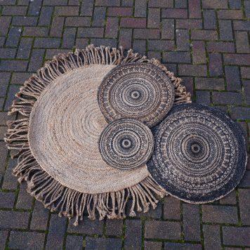durry gevlochten vloerkleed rond met franje jute 125 cm