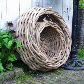 grijs rotan manden schalen diameter 42 cm en 60 cm hoog 26 cm en 20 cm koboo grey extra dik