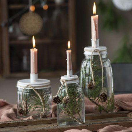 ib-laursen glazen fles kandelaar wit metaal hoog 18 cm diameter 8.5 cm candleholder for dinner candle metal lid white3