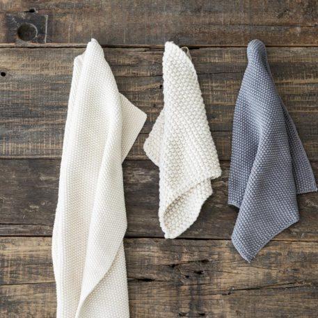 ib-laursen towel mynte latte knitted keuken handdoek off white gerstekorrel gebreid katoen 40 bij 60 cm1