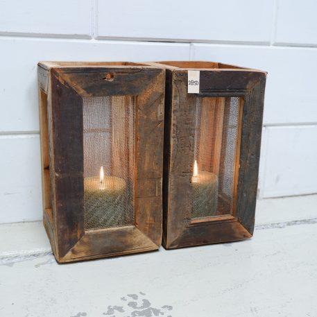 lantaarn truckwood vierkant met gaaspaneel oud hout hoog 35 cm breed 20 cm diep 20 cm3