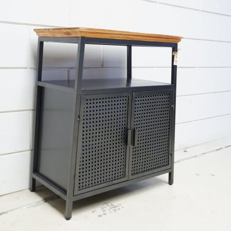 dressoir webbing grijs metaal wooden top 2 deuren hoog 78 cm breed 66 cm diep 37 cm