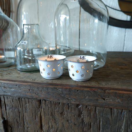 emaille sfeerlichtje wit ster ib laursen hoog 5 cm diameter 7.5 cm candle holder for tealight stars enamel3