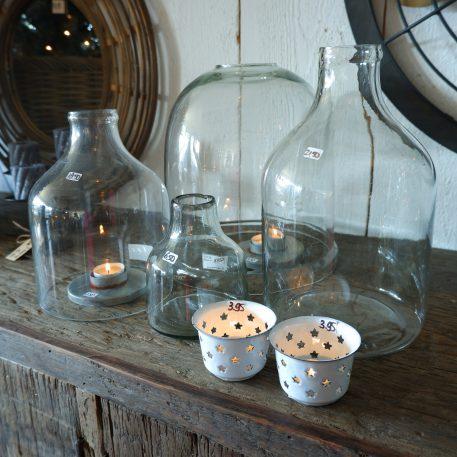 emaille sfeerlichtje wit ster ib laursen hoog 5 cm diameter 7.5 cm candle holder for tealight stars enamel4