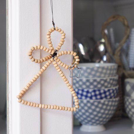 engel houten kraal naturel hoog 10.5 cm breed 8 cm angel for hanging wooden beads ib-laursen