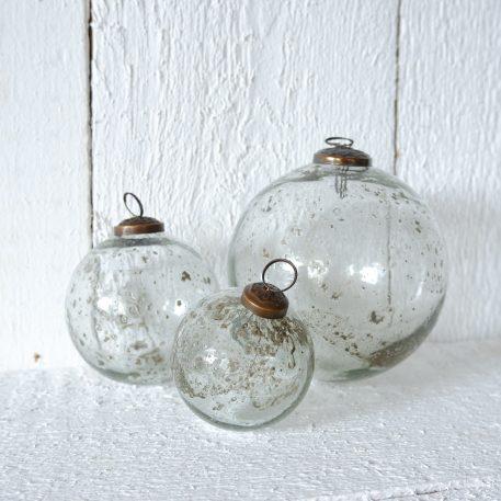 kerstbal glas metal chips clear diameter 7 cm diameter 10 cm en diameter 13.5 cm ib-laursen christmas ornament pebbled glass clear