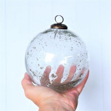 kerstbal glas metal chips clear hoog 15 cm diameter 13.5 cm ib-laursen christmas ornament pebbled glass clear (2)