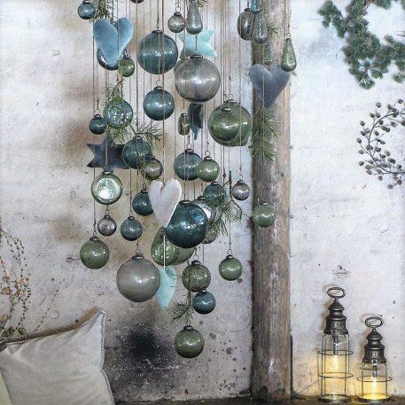 kerstbal glas metal chips clear en moss green diverse maten ib-laursen christmas ornament pebbled glas9