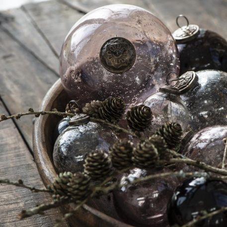 kerstbal glas metal chips roze en clear diverse maten ib-laursen christmas ornament pebbled glass1